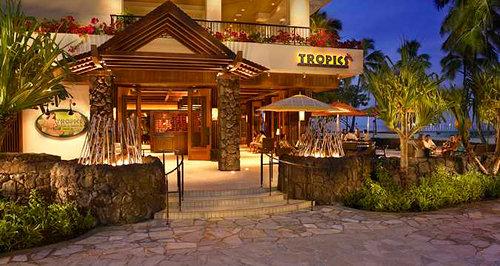 Dining at Tropics Bar and Grill